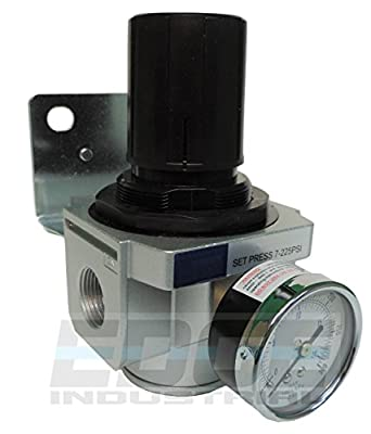 "Heavy Duty High Flow 1"" In-line Compressed Air Pressure Regulator, 7 To 215 Psi Adjustable, Bracket, Gauge"
