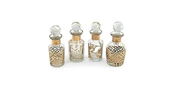 CAPRILO Set de 4 Elegantes Botellas para Perfumes Decorativas de ...