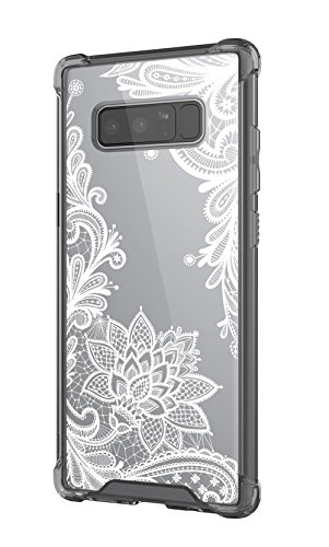 Cutebe Shockproof Hard PC+ TPU Bumper Case Scratch-Resistant Cover for Samsung Galaxy Note 8 2017 Release Lace Flower