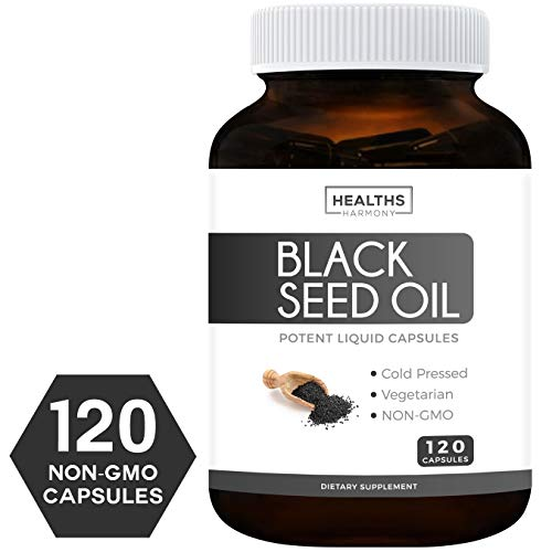(Black Seed Oil - 120 Softgel Capsules (Non-GMO & Vegetarian) Premium Cold-Pressed Nigella Sativa Producing Pure Black Cumin Seed Oil with Vitamin E - Made in The USA - 500mg Each, 1000mg Per Serving)