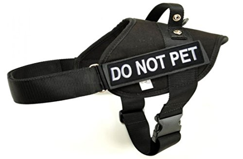 Police & Service Dog BLACK Vest Harness with 2 Embroidere...