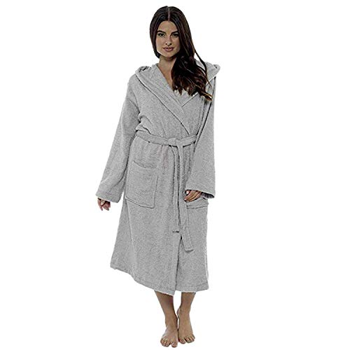 TIFENNY Women's Winter Soft Plush Lengthened Shawl Bathrobe Home Clothes Long Sleeved Robe Coat with ()