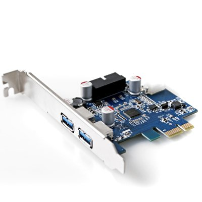GMYLE (TM) PCI-Express USB 3.0 2 Ports Front Panel with 4-Pin Molex Power & 19(20) Pin Connector NEC D720202 Chipset Control Card Adapter by GMYLE