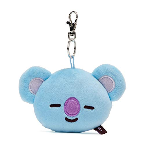Face Keychain - BT21 Official Merchandise by Line Friends - KOYA Character Plush Doll Face Keychain Ring with Mirror Handbag Accessories