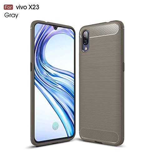 TiHen Case VIVO NEX, Case Shockproof Silicone Carbon Fiber Texture Light Brushed Grip Case 360° Protective Case Cover for VIVO NEX Grey + Free Screen Protector
