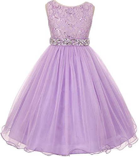 Little Girls Gorgeous Shiny Tulle Beaded Sequin Flowers Girls Dresses (Lilac, 6) - Girls Lilac Flower Girl