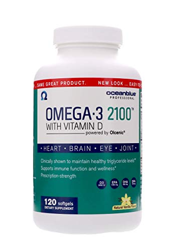 Ocean Blue - Omega 3 2100 - Olcenic Blend with Vitamin D - 120 Count - Natural Vanilla Flavor - Promotes Heart Health - no Fishy Aftertaste - Healthy Heart and Circulatory - Support Healthy Teeth