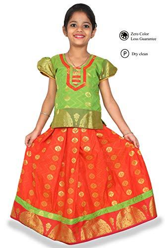 kaatru Thana Silk Girls Pavadai Set D7 - Lehenga Choli (Green & Orange) (3-4 Y)
