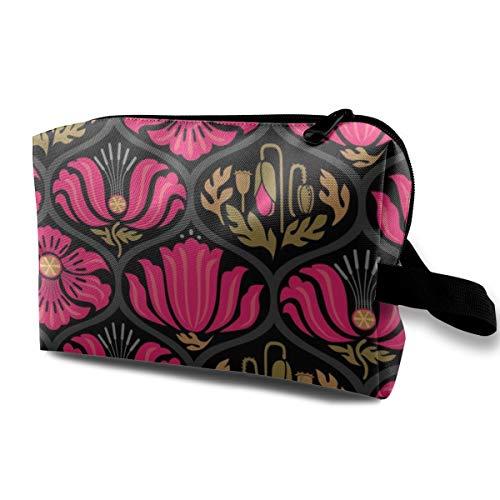 Poppy Ogee_MOD Hot Pink Lg_206 Travel Makeup Bag Mirror Women Girls Dark Blue