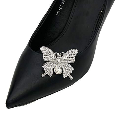 Lauthen.S 1 Pair Rhinestone Butterfly Wedding Shoe Clips Bride Party Shoe Decoration(Style L,White) (Butterfly Pumps)