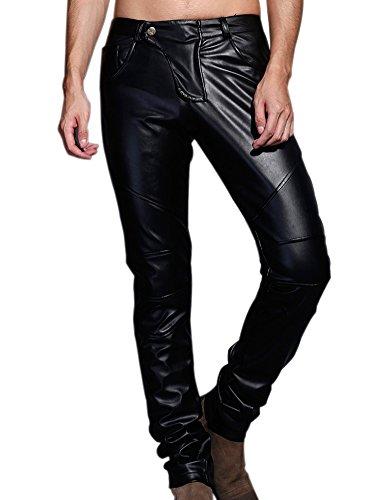 Idopy Men`s Slim Fit Party Performance Biker Faux Leather Jeans Pants Black 34 - Black Jean Style Pant