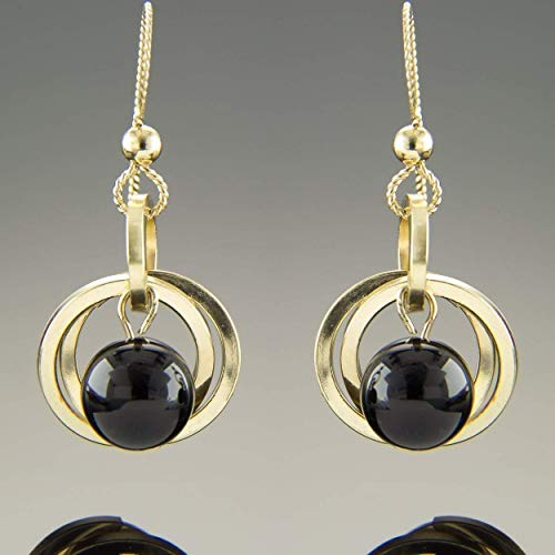 (Dainty Black Onyx Real Gemstone Open Circle Dangle Earrings in 14K Yellow Gold Jewelry Gift Idea)