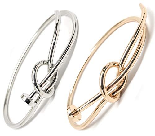 Love Knot Bracelet Bangle Nail Knot Heart Tie The Knot Bracelet Bundle Gold and Silver - Nail Tie Knot