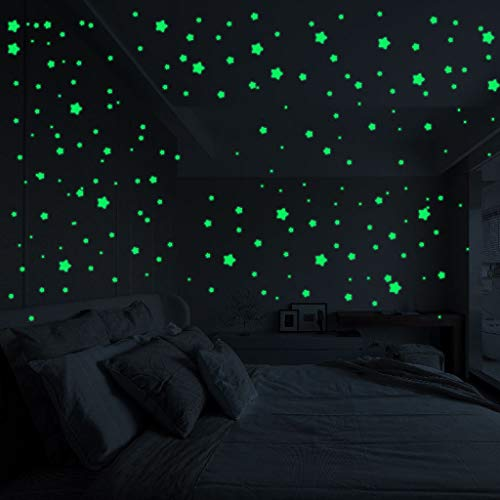 MaxFox 3D Stars Glow in The Dark Luminous Stars Fluorescent Flat Wall Stickers Home Room Decors for Refrigerator,Furniture,Window (Green)