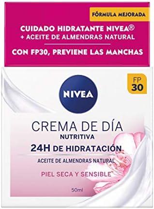 Nivea Crema de Día Nutritiva con Aceite de Almendras FP30, Piel Seca y Sensible, 50ml