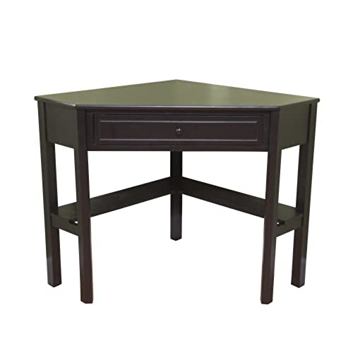 Target Marketing Systems Wood Corner Desk With One Drawer And Storage Shelf Black Finish
