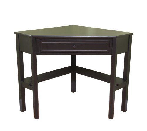 Target Marketing Systems Wood Corner Desk With One Drawer And One Storage Shelf, Black Finish by Target Marketing Systems