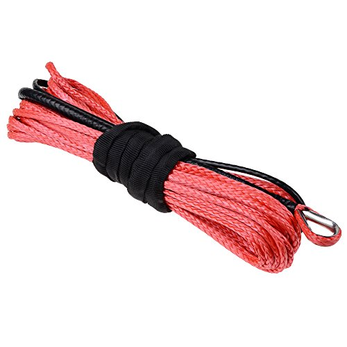 "Price comparison product image 3 / 16"" X 50'' RED Synthetic Fiber Winch Line Rope 5400LBs with Sheath Car SUV ATV UTV KFI"