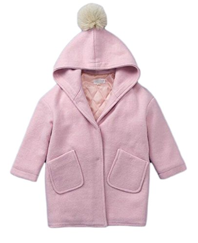 Fulok Girls' Classic Wool-Blend Button Down Hooded Pea Coat Jackets Pink 5T