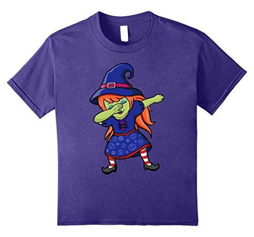 Kids Cute Redhead Dancing Dabbing Witch Skull Dress Kids T-shirt 10 (Redhead Girl Halloween Costumes)