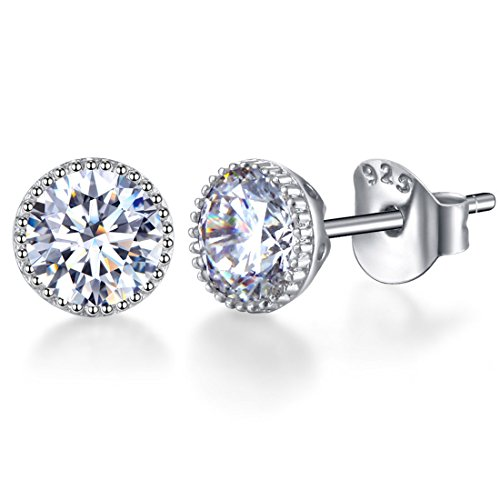 5 Mm Silver Rhinestone - SENCLE 18K White Gold Plated Sterling Silver Diamond Cubic Zirconia Stud Earrings 5.5mm for Women