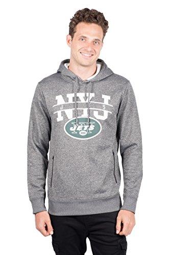 ICER Brands NFL Mens Fleece Hoodie Pullover Sweatshirt Zipper Pocket, Gray/Navy