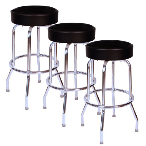 Jet Black Chrome 30 Inch Swivel Bar Stool – Set of Three 0-1950BLK 3pk