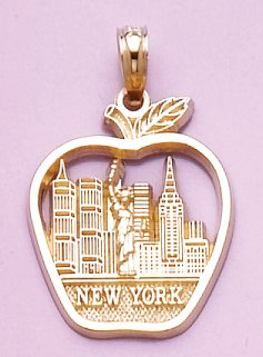 14k Yellow Gold Charm, New York &