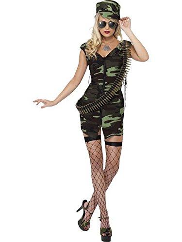 [Smiffy's Women's Fever Combat Girl Costume, Green, Medium] (Combat Costumes Women)
