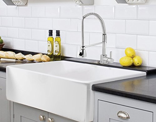 Farmhouse Kitchen Sink White - Single Bowl Fireclay with Apron Front - Undermount or Overmount Design - Smooth - 30 Inches