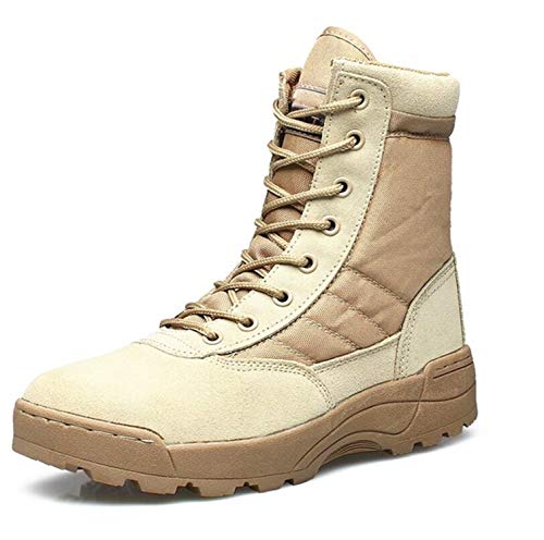 Combat Smores (Men Military Leather Boots Special Forces Tactical Desert Combat Boats Outdoor Shoes Snow Boots 711 Beige 8)