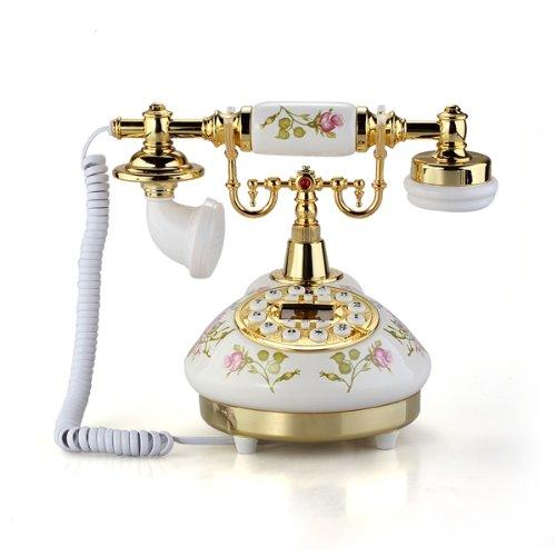 Retro Vintage Antique Style Flower Ceramic Home Decor Desk Telephone Phone