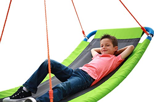 """Giant Outdoor Platform Swing - Large 34"""" x 60"""" in Green 700 lb Weight Capacity Durable Steel Frame Waterproof Adjustable Ropes Easy to Install Fun for Kids, Adults, Friends 2019 Toy"""