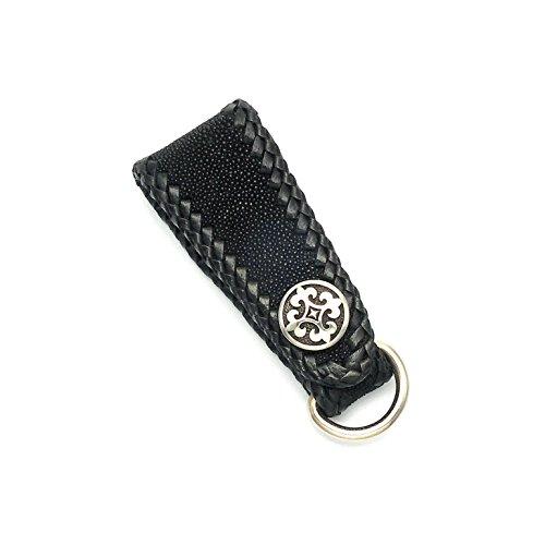 Wild Things Black Stingray Leather Art Deco Key Fob w/Black Cowhide Lacing & Stainless Steel Fleur de Lis Snap (Eagle Ray Stingray)