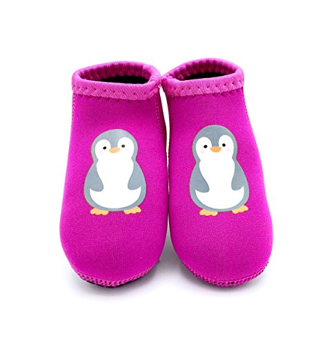 MAKO Infant Born2Play Water Swim Beach Shoes (Medium (Sole Length 5.5 Inches, 18-24 Months), Pink Penguin) ()