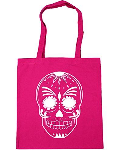 HippoWarehouse mexikanisch tag der toten schädel illustration 2 Einkaufstasche Fitnessstudio Strandtasche 42cm x38cm, 10 liter - Fuchsia, One size