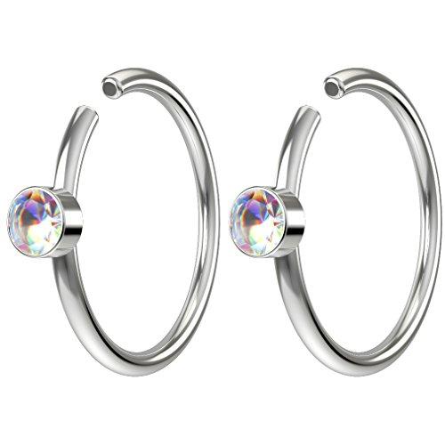 Gem Nose Hoop - Bling Piercing 2pc 20g Swarovski Crystal Nose Clips 8mm Hoop Ring Hypoallergenic Stainless Steel AB Aurora Borealis