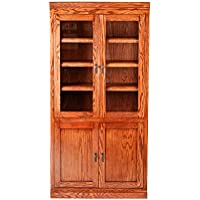 Forest Designs Mission Bookcase w/ Full Glass Doors: 36W X 72H X 18D Merlot Oak