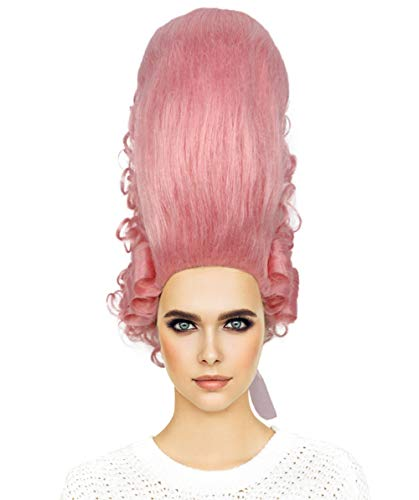 Halloween Party Online Colonial Lady Large Beehive Pink Wig -