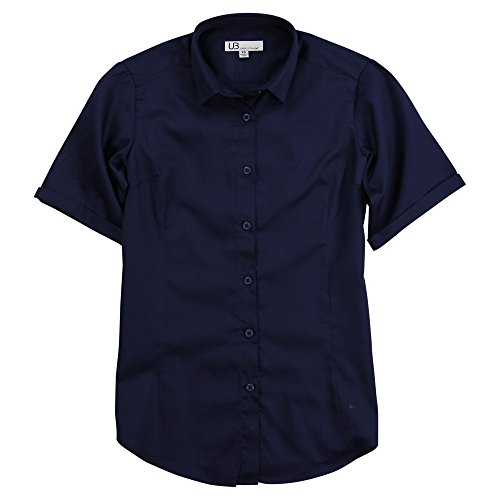 Womens Short Sleeve Button Front (Women's 100% Cotton Classic Short Sleeve Shirt (Navy, Large))