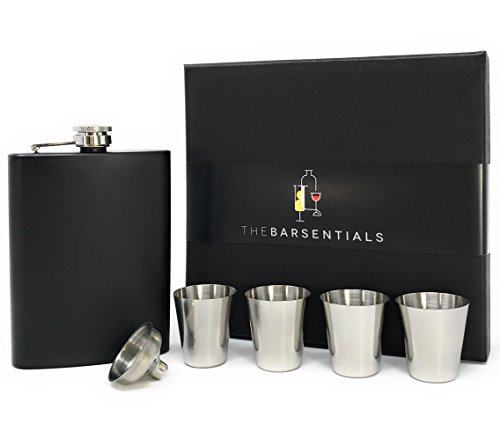 TheBarsentials Gift Set Premium 8oz Hip Flask Leakproof Stainless Steel for Liquor with 4 Drinking Shot Glass and Funnel with Box for Men and Women (Matte Black) - Perfect for Christmas and Holidays ()