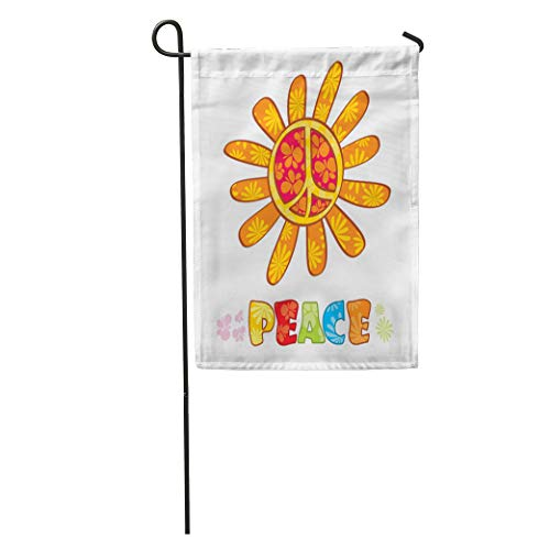 (Semtomn Garden Flag Blue Flower Hippie Peace Symbol Colorful Groovy Sign Abstract Button Home Yard House Decor Barnner Outdoor Stand 28x40 Inches Flag)
