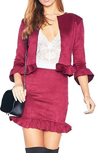 acc7d28d40 Re Tech UK Womens Ladies Suedette 2 Piece Co-Ord Set Frill Ruffle Blazer  Jacket Pencil Skirt Fashion (12, Wine): Amazon.co.uk: Clothing