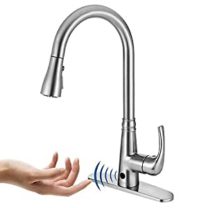 Motion Sensor Kitchen Faucet With Sprayer Brushed Nickel