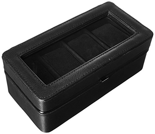 Perry Ellis Men's Leather Watch Storage Box, Black, 1-Sz