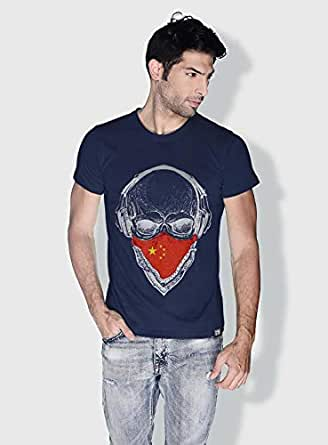 Creo China Skull T-Shirts For Men - L, Blue