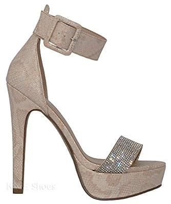 MVE Shoes Women's Open Toe Jewled Buckle Strap Platform High Heel Sandal
