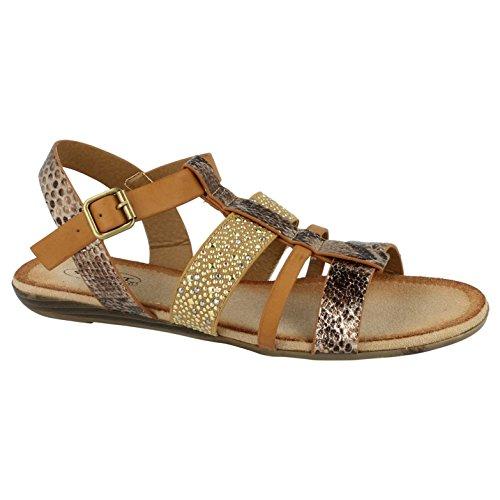 Savannah Ladies Strappy Flat Gladiator Sandals Black Size 8 MPFIKPObKt