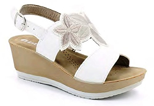 Femme Inblu Sandales Bianco Blanc pour EU 39 7qEqw1rS