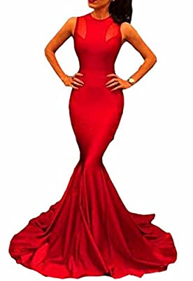Jaycargogo Woman's Formal Fishtail Mermaid Long Party Evening Dress Bridal Prom Gown Red